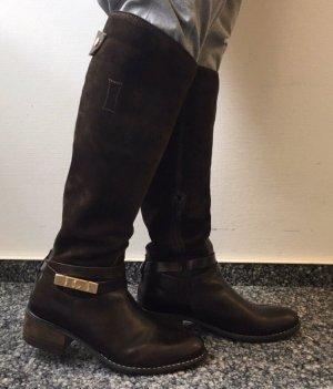 Botas estilo militar marrón oscuro Cuero