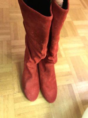 Bottes plissées rouge