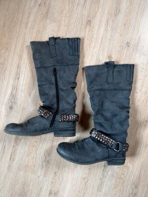 Stiefel Schuhe grau Nieten Super Mode