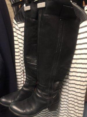 Buty nad kolano czarny Skóra