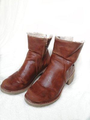 Street One Wedge Booties brown-cognac-coloured