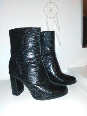 Stiefel Stiefelette schwarz Glanz Optik Lack Leder Optik