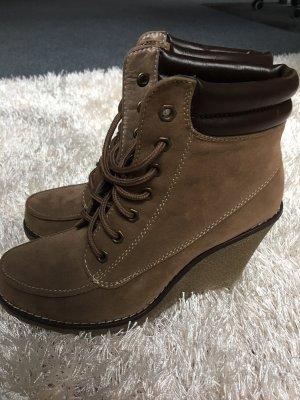 Stiefel Stiefeletten Keilabsatz Boots Schnürung