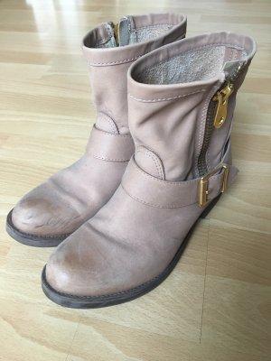 Stiefel Stiefeletten Leder beige gold ZARA 38