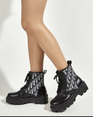 no name Lace-up Booties white-black
