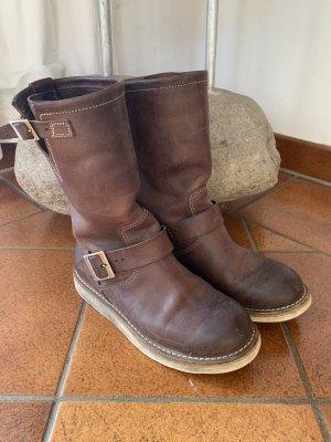 Vibram Slip-on Booties brown leather