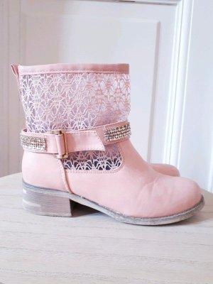 Stivale largo al polpaccio rosa chiaro-bianco