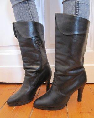 Stiefel True Vintage Schwarz Echtes Leder High Heels von Salamander Größe 40