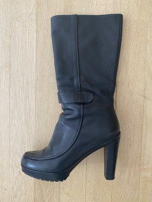 Navy Boot Bottes à talon noir cuir