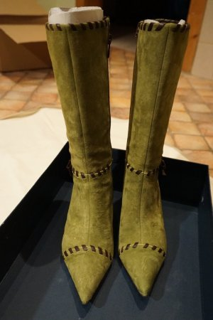 Pedro Miralles Heel Boots lime-green-brown leather
