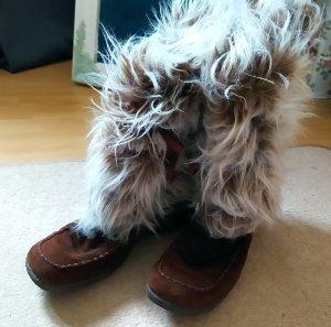 Rieker Winter Boots dark brown-natural white leather
