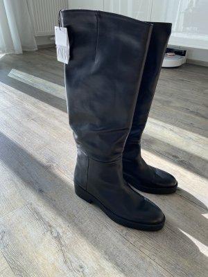 Stiefel Zara schwarz 38 neu flach Leder Kunstleder