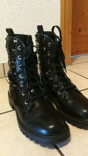 Zara Basic Bottes à lacets noir-doré
