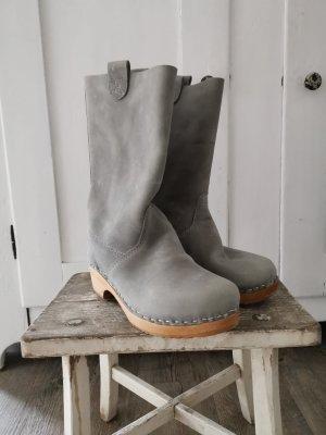 Halfhoge laarzen grijs Leer