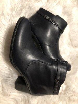 Rieker Peep Toe Booties black leather