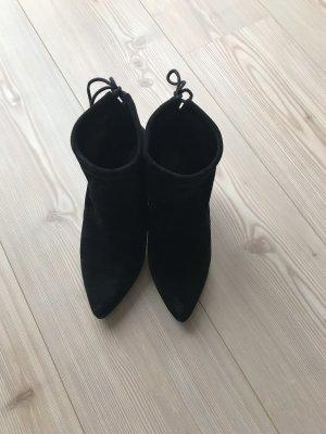 Another A Wciągane buty za kostkę czarny Zamsz