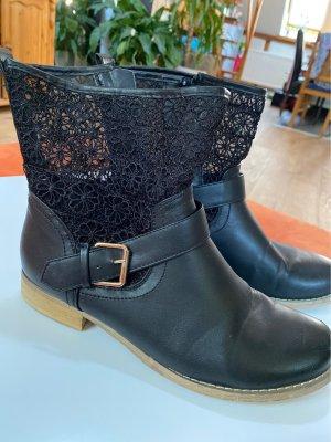 Stiefelette Boots mit Schnalle & Spitze Gr. 40