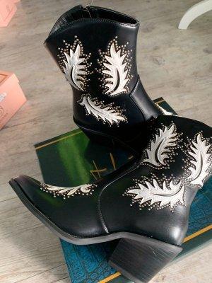 Stiefelette/Boots - Western-/Biker - Größe 37 - Black/White - NEU!