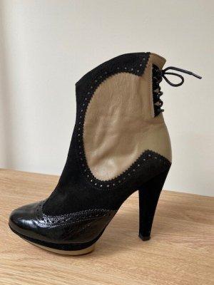 Cuplé Zipper Booties black-beige leather