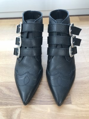 Topshop Cut Out Booties black leather