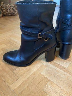 Stiefelette Esprit, schwarz, Leder, 40, Absatz 8cm
