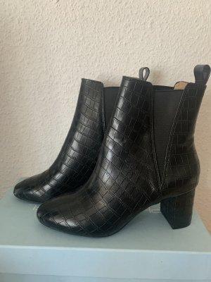 Stiefelette Kroko Stretch Blockabsatz schwarz H&M rund
