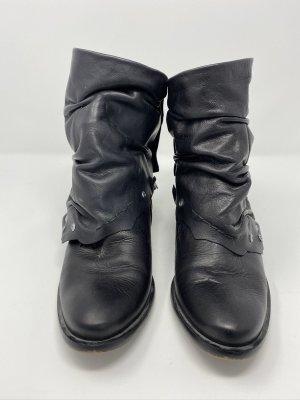 Stiefelette Leder schwarz Buffalo Gr. 38 abnehmbare Gamaschen