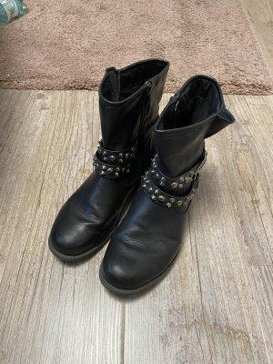 Depeche Zipper Booties black-silver-colored