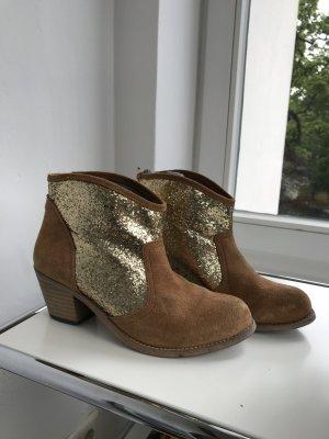 Stiefelette mit paillettes cognac gold 39 party shoes boots mini boots Leder