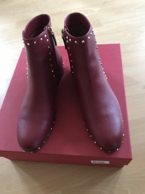"""Stiefelette Valentino """"Rockstud Low Ankle Boots Leather Rosso"""" Gr. 37"""