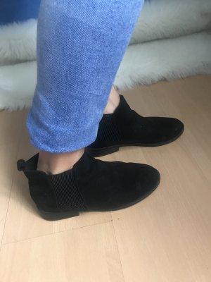 Stiefelette Velours Imitat schwarz Chelsea Ankle Boot