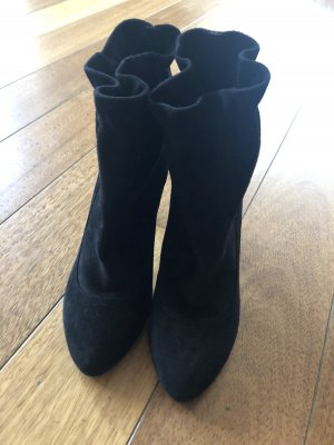 Stiefelette Velours Leder schwarz 38