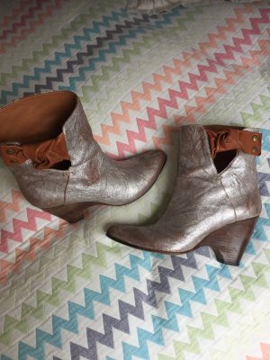 Moma Wedge Booties silver-colored-cognac-coloured