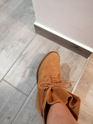 Botas de tobillo naranja oscuro Cuero
