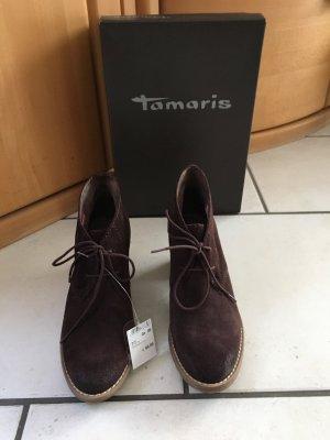 Tamaris Bottines à lacets brun foncé cuir
