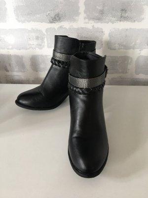 CityLine Zipper Booties black-silver-colored