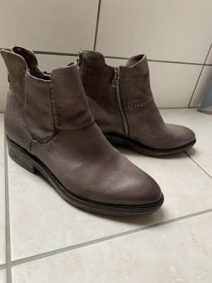A.S.98 Zipper Booties grey brown leather