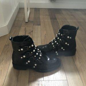 Stiefelparadies Botas con cremallera negro-blanco