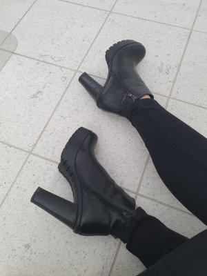 Stiefeletten Absatz boots stiefel schwarz echt Leder 39