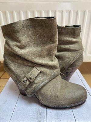 Air Step Wedge Booties grey brown leather