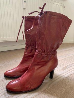 Botas deslizantes rojo oscuro Cuero