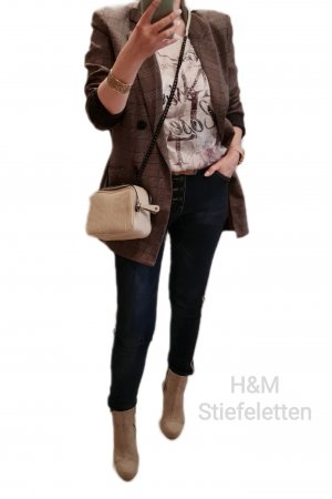 Stiefeletten Beige H&M Stiefel Kurz Lochmuster Velour Optik Sommer Herbst Look Gr. 36 - Sehr gut