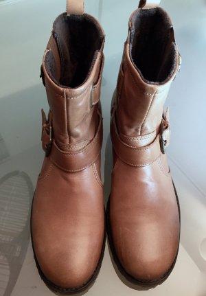 Stiefeletten BIKER Boots SCHUHENGEL 41 Moma **NEU** flach Leder braun - aktuelle Kollektion