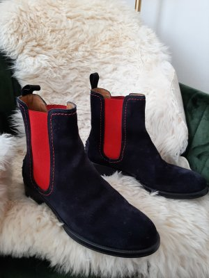 Slip-on Booties red-blue leather
