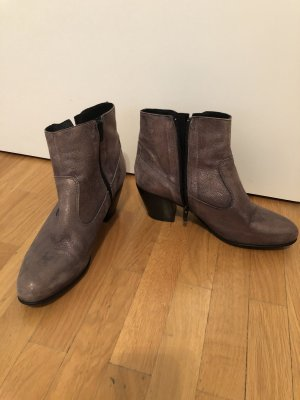 Bocage Slouch Booties silver-colored leather
