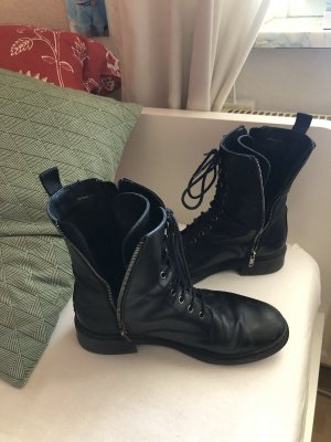 Zara Lace-up Booties black-silver-colored