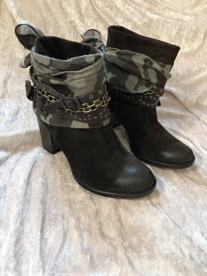 Stiefeletten Boots ungetragen braun 38 camouflage Tuch