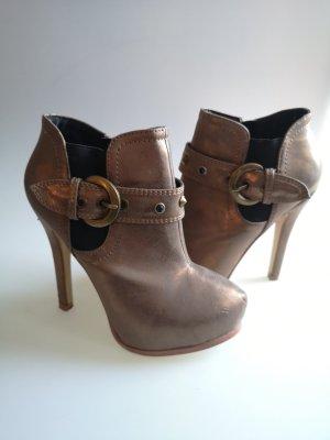 Jumex Zipper Booties bronze-colored