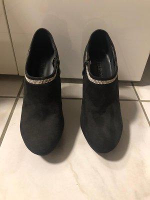 Peep Toe Booties black-silver-colored