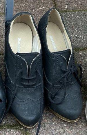Graceland Bottines à lacets bleu foncé